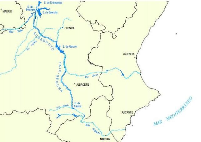 Mapa del trasvase Tajo-Segura / MAPAMA