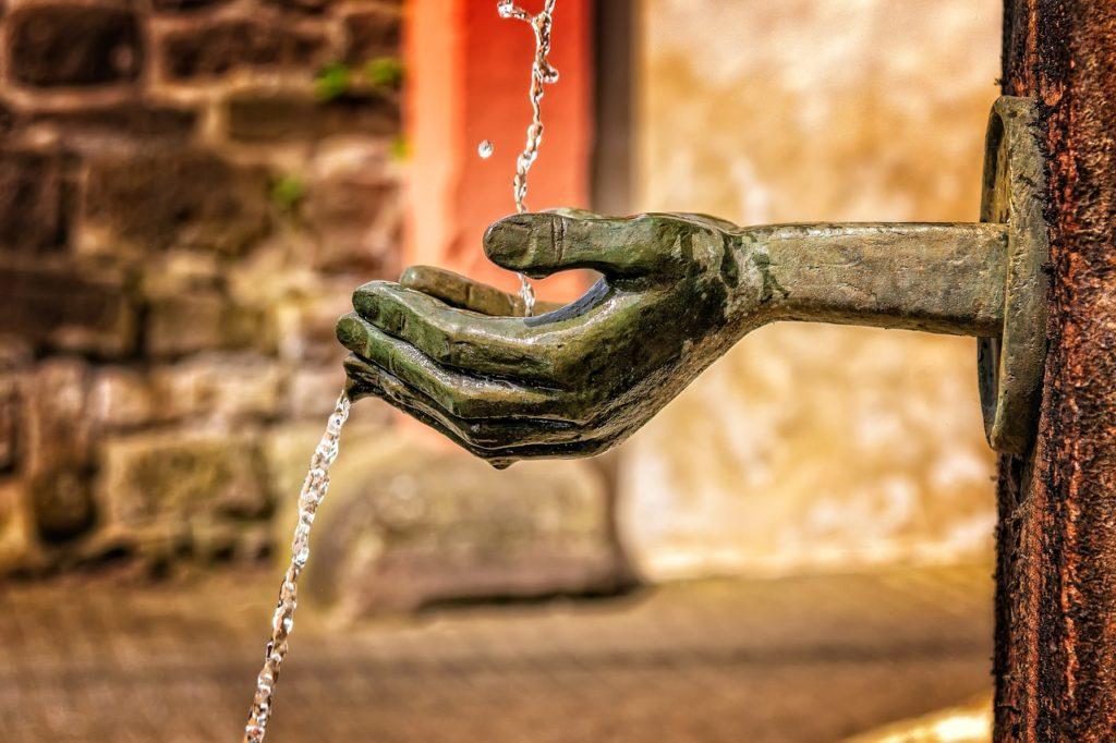 fuente, mano, agua, consumo, grifo