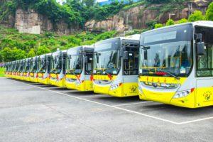 aparcamiento, autobus, electrico, China