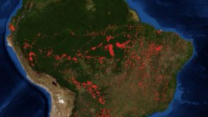 Incendios activos en la selva amazónica. NASA