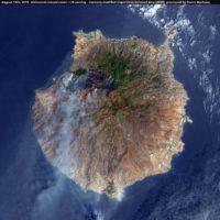 Así se ve el incendio de la isla de Gran Canaria desde el espacio