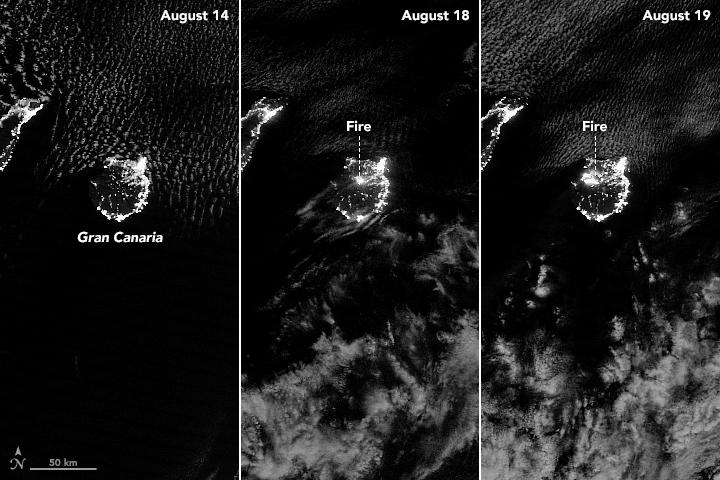 Incendio en Gran Canaria observado de noche por la NASA