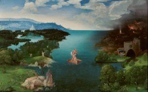 Joachim Patinir. El Paso de la laguna Estigia. 1520-1524. Óleo sobre tabla. 64 x 103 cm. Museo Nacional del Prado