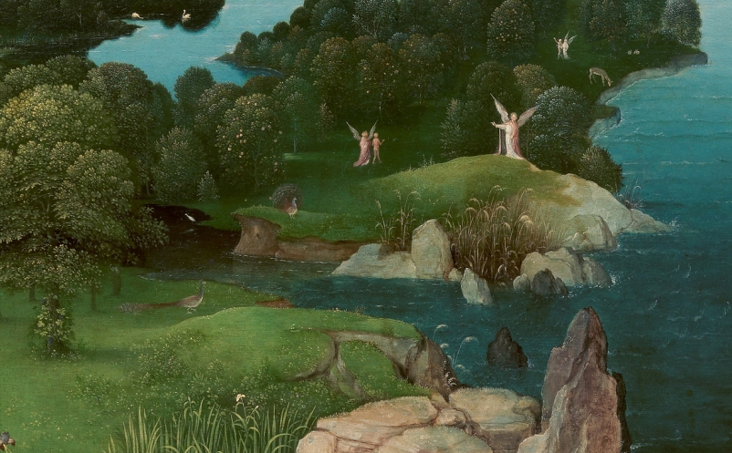 """Detalle del cuadro """"El Paso de la laguna Estigia"""". 1520-1524. Óleo sobre tabla. 64 x 103 cm. Museo Nacional del Prado"""