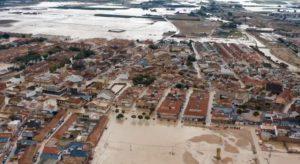 El municipio de Torre Pacheco, junto al Mar Menor, inundado tras el paso de la DANA por Murcia en septiembre de 2019.   Foto: Efe