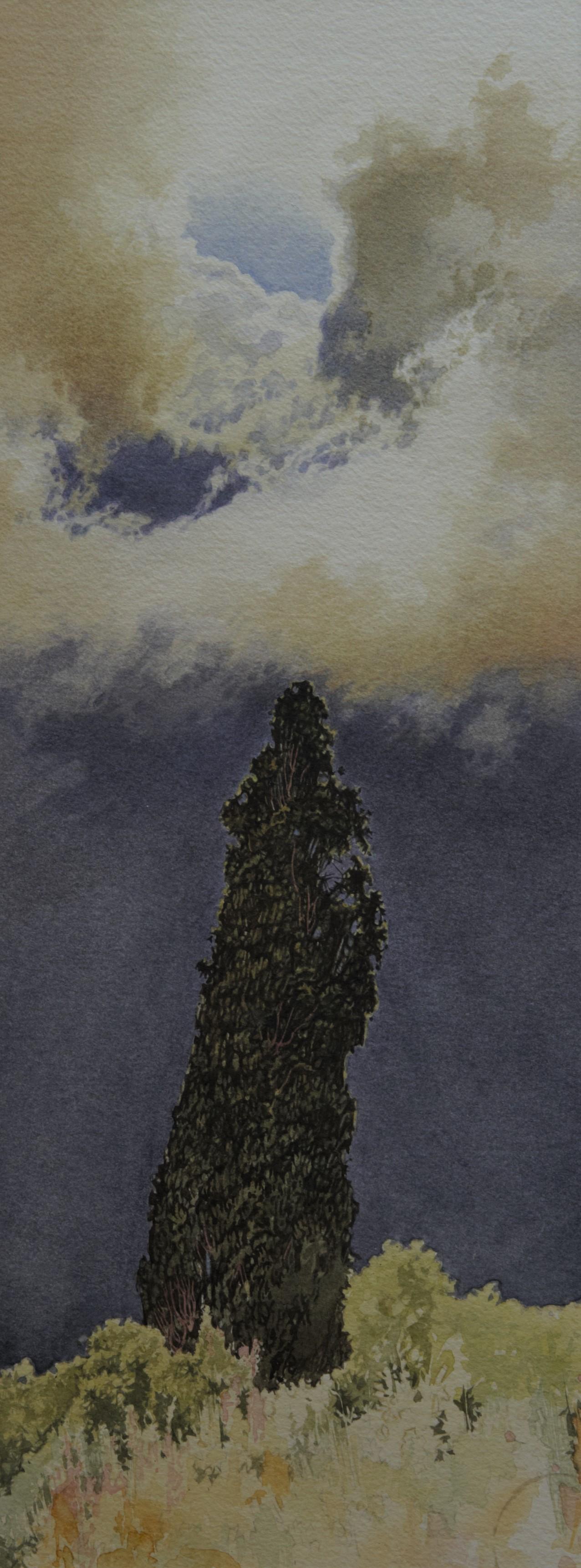 El ciprés de la Anunciada, obra del pintor Fernando Fueyo. | Autor: Fernando Fueyo