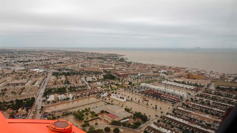 Vistas aéreas de la zona del Mar Menor, afectada por las fuertes lluvias de los últimos días. | Foto: EFE/Moncloa
