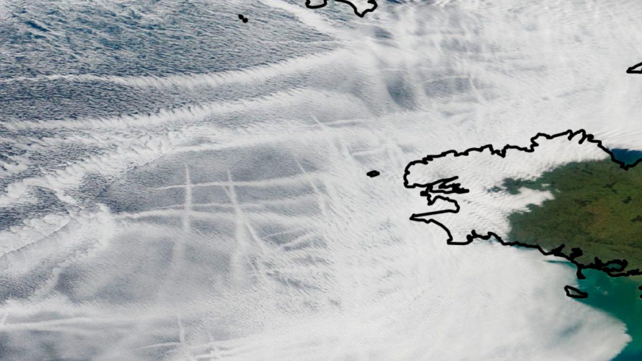 barcos, estelas, satélite, contaminación, clima
