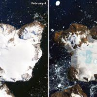 Un récord histórico de calor crea lagos en el hielo de la Antártida