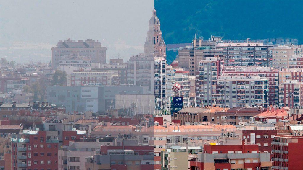 MURCIA TRANSPARENTE. El estado de confinamiento en el que continuamos en España por el virus que azota al mundo entero no nos deja salir de casa. No obstante, ha hecho posible que en muchos puntos del país podamos ver una mejora muy notable en el ambiente, que poco a poco recupera su trasparencia. Por ejemplo, la contaminación del dióxido de nitrógeno, vinculado al tráfico de vehículos a motor, se ha reducido en el entorno urbano de Murcia más de un 40% en las primeras semanas de confinamiento. En la imagen, un combo de dos fotografías que refleja el nivel de contaminación ambiental en la ciudad de Murcia, la imagen de la izquierda fue tomada el pasado 29 de febrero y la de la derecha este jueves 23 | Foto: EFE / Marcial Guillén