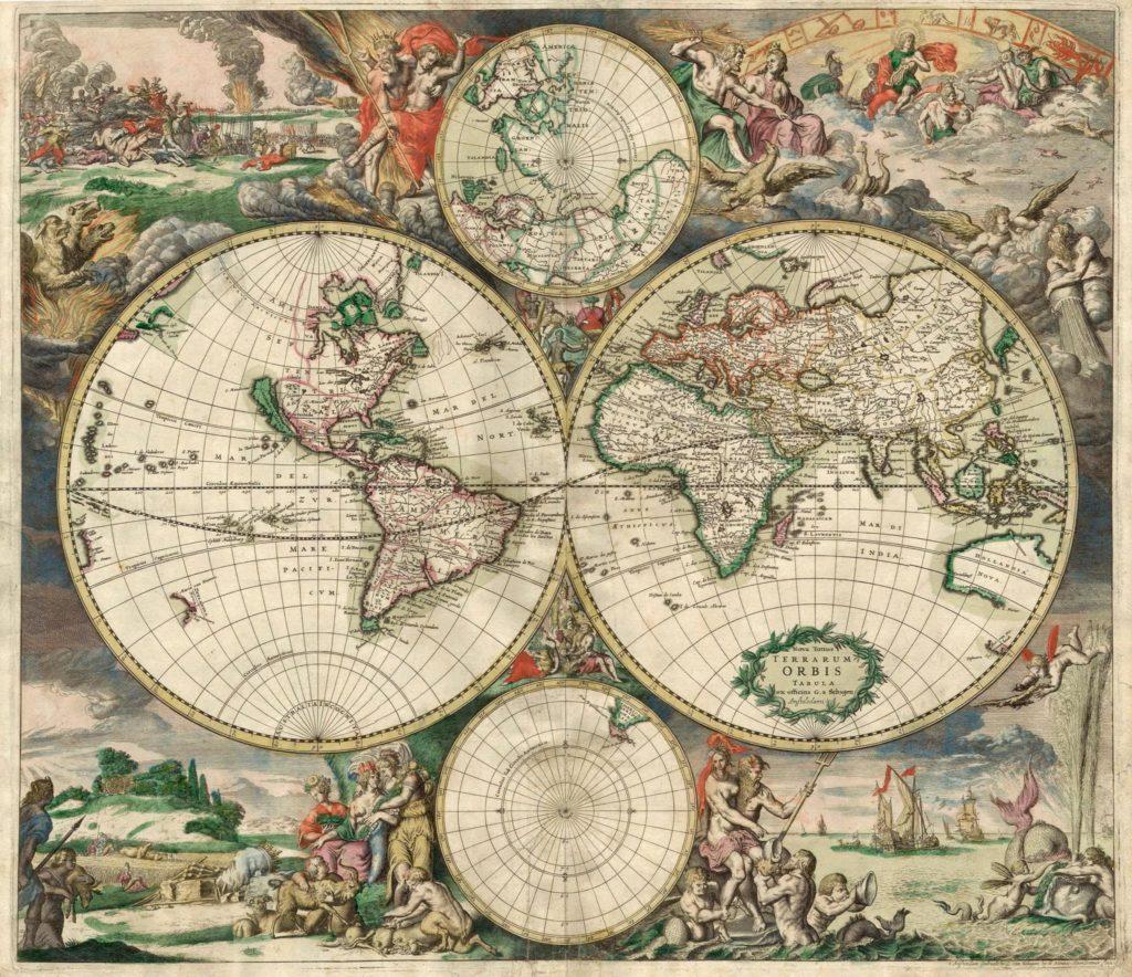 Mapamundi, 1689, Gerard van Schagen. Grabado coloreado a mano, 48.3 × 56 cm. Biblioteca de la Universidad de Ámsterdam, Ámsterdam. © 2019 - Phaidon Press Ltd