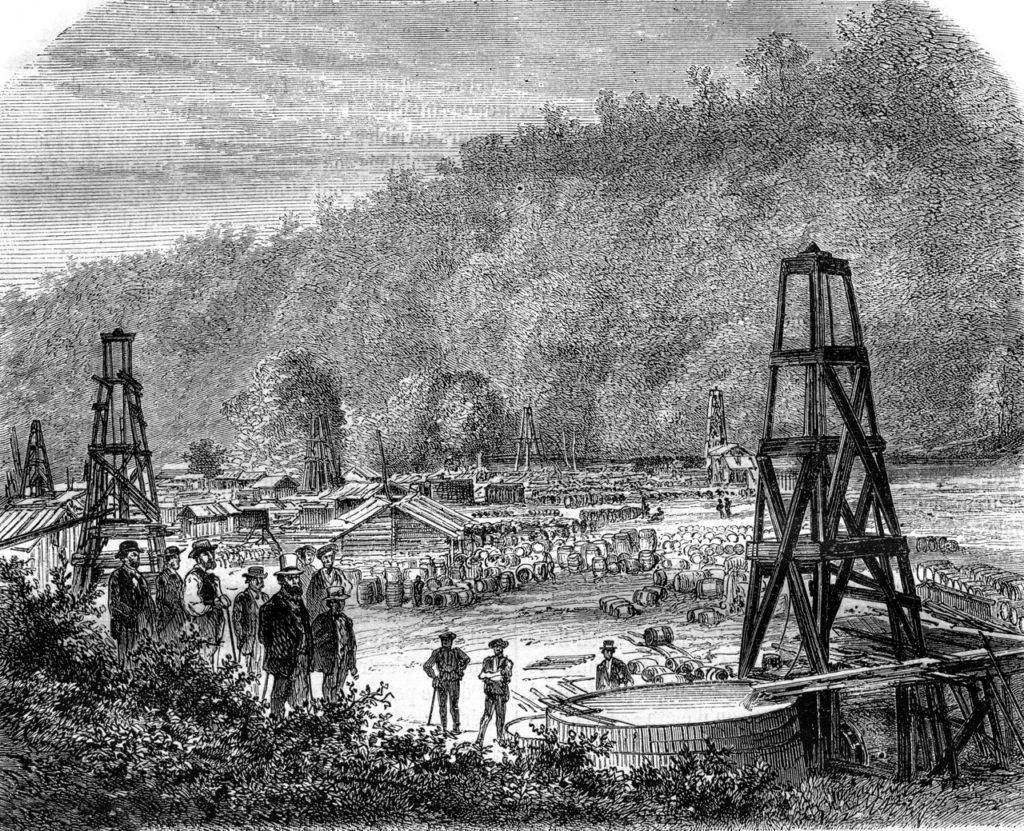 Ilustración publicada en 1870 en el 'Magasin Pittoresque' que muestra los primeros pozos de petróleo explotados en Pennsylvania (EEUU). Crédito Morphart Creation