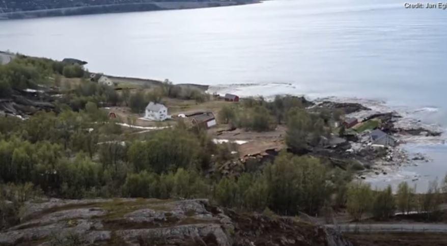 Espectacular desplazamiento de tierra en Noruega