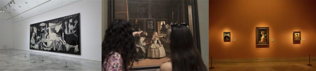 De izquierda a derecha Guernica (Museo Reina Sofía; dos jóvenes contemplan Las meninas (Museo del Prado); y retrato de Giovanna degli Albizzi Tornabuoni de Carpaccio (Museo Thyssen). Montaje: Paloma Hiranda