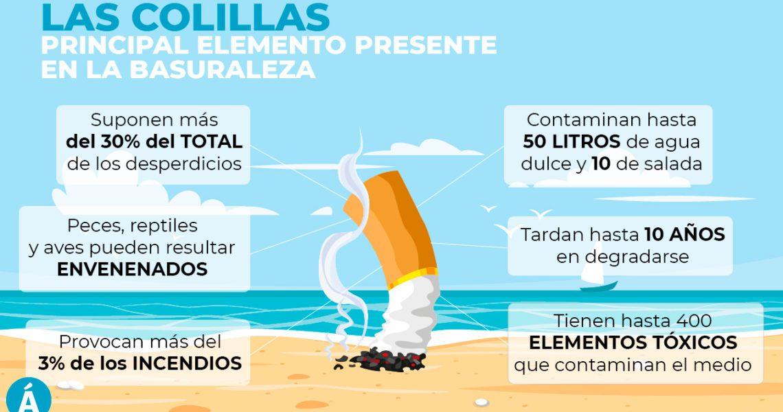 En las playas hay más colillas que personas