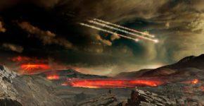 Representación de los meteoros que impactaron en la Tierra en una fase posterior a su formación. Estos impactos también pudieron haber traído agua y otras moléculas necesarias para la vida   Foto: Goddard Space Flight Center de la NASA