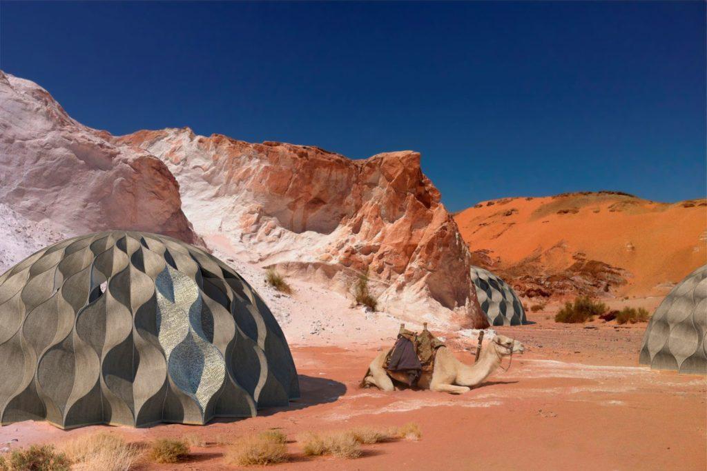 Weaving a Home 2020 - Rendering in Desert Environment, Jordan.   Foto: Cortesía de Fundación Telefónica