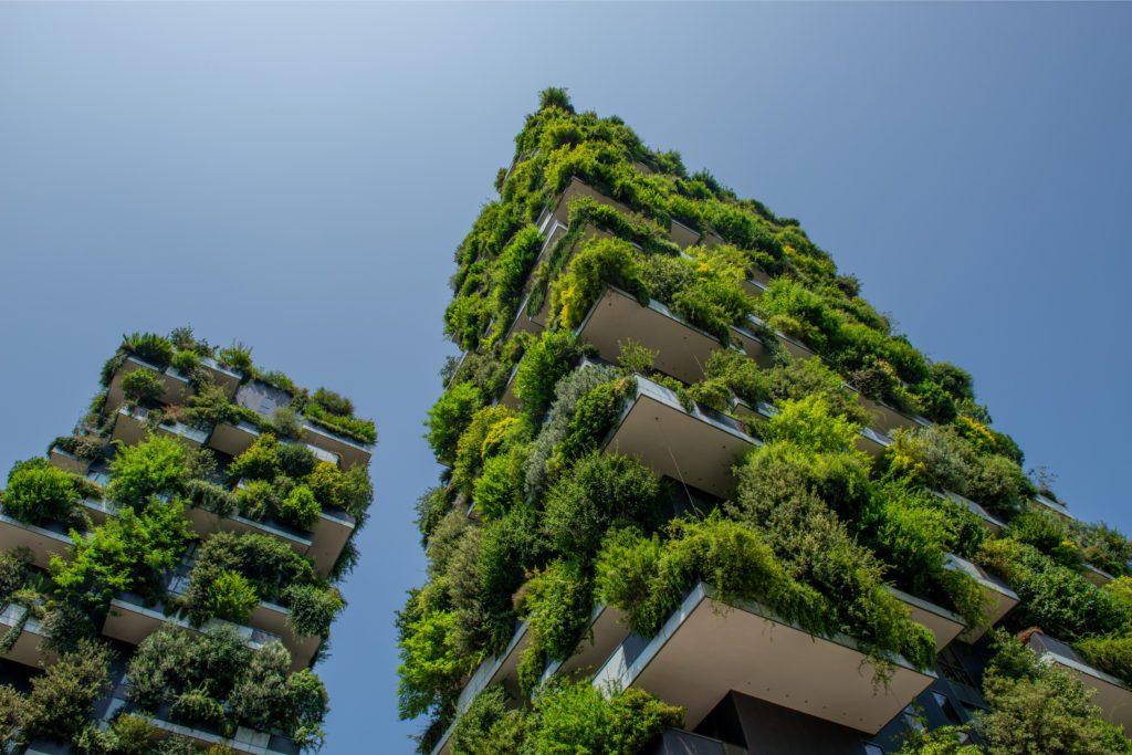 Milán Italia edificio verde ciudad tejado Pierluigi.Palazzi
