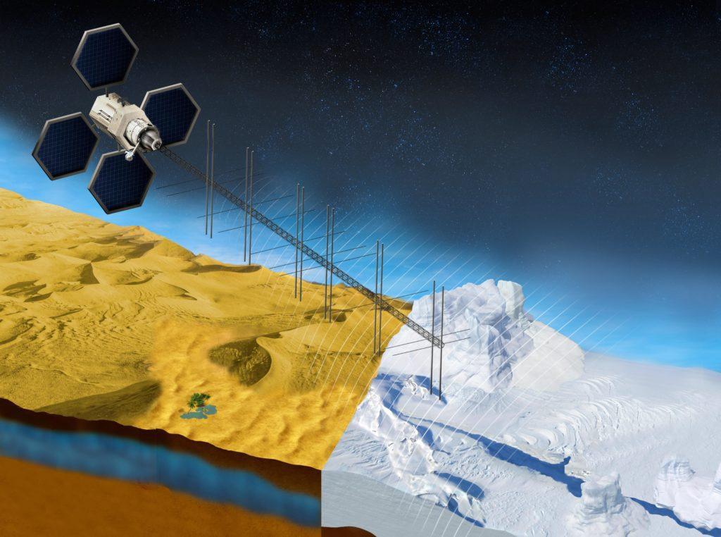 OASIS estudiará los acuíferos de agua dulce en el desierto y las capas de hielo en lugares como Groenlandia. La ilustración muestra cómo sería un satélite con un radar propuesto para la misión. / NASA/JPL-Caltech.