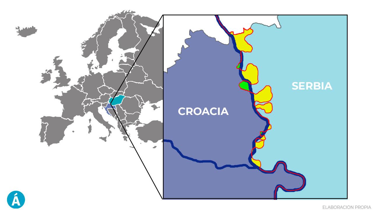 La evolución de la frontera entre Croacia y Serbia