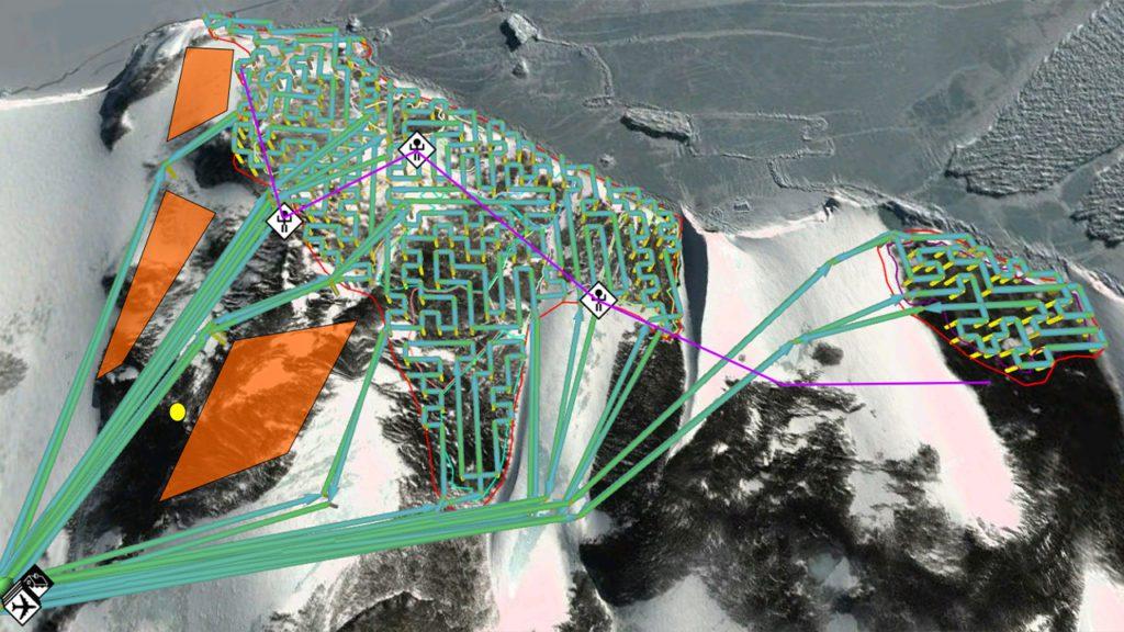 Visualización de las rutas de los drones determinadas por el algoritmo sobre la colonia de pingüinos de Adelia en Cabo Crozier | Foto: Kunal Shah