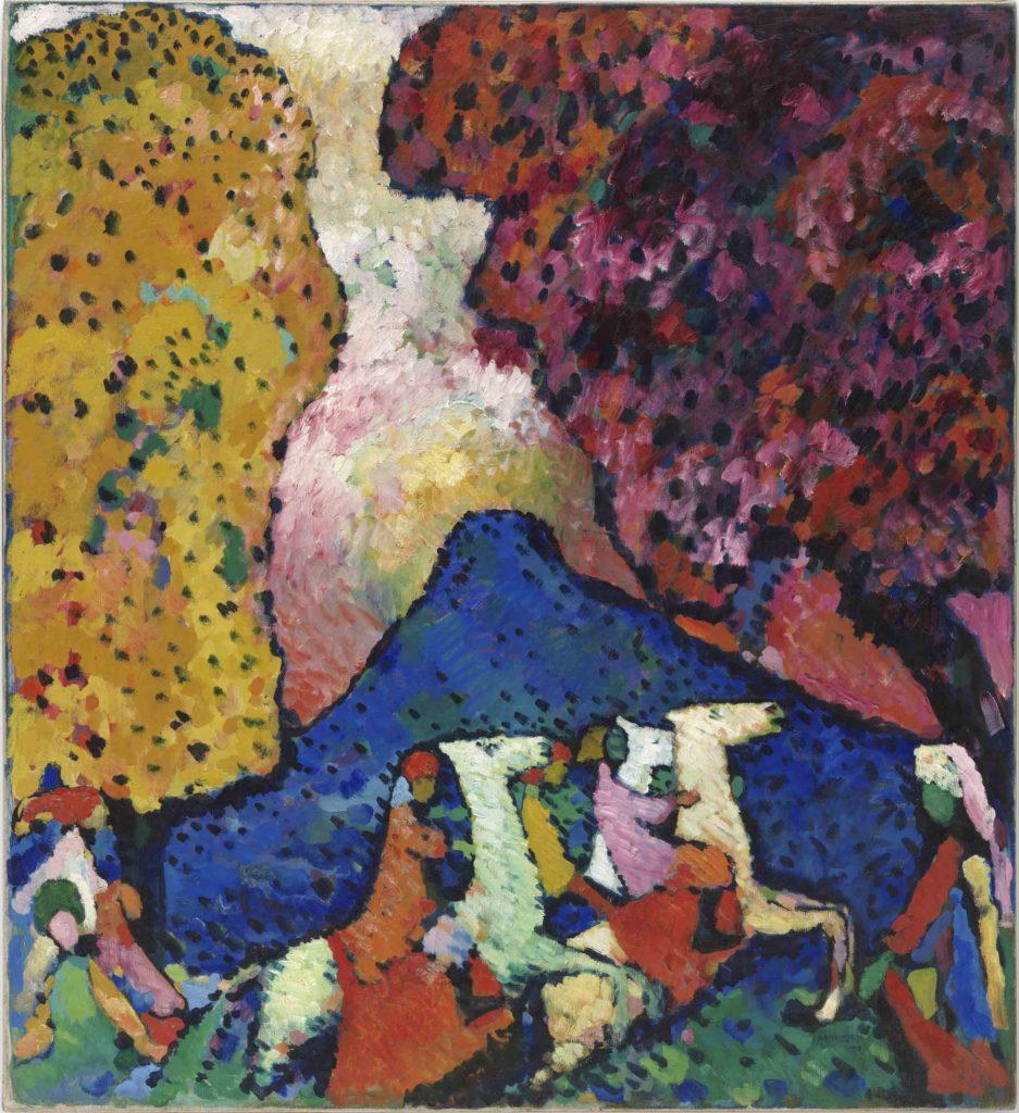 Vasily Kandinsky. La montaña azul, 1908–09. Óleo sobre lienzo. 107,3 × 97,6 cm. Solomon R. Guggenheim Museum, Nueva York, Colección Fundacional Solomon R. Guggenheim, por donación 41.505. © Vasily Kandinsky, VEGAP, Bilbao, 2020