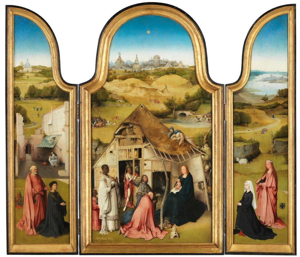 Tríptico de La Adoración de los Magos de El Bosco, hacia 1494. Grisalla, Óleo sobre tabla de madera de roble. ©Museo Nacional del Prado