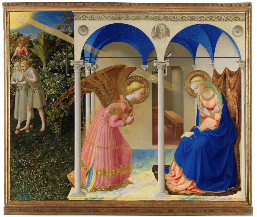 La Anunciación de Fra Angelico, hacia 1426. Témpera sobre tabla, 162,3 x 191,5 cm. ©Museo Nacional del Prado