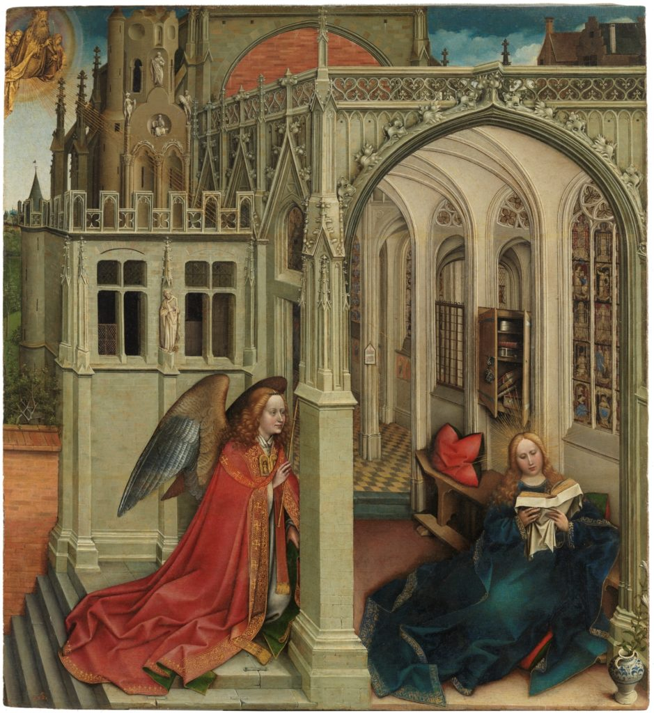 La Anunciación de Robert Campin, 1420 - 1425. Óleo sobre tabla de madera de roble, 76 x 70 cm. ©Museo Nacional del Prado