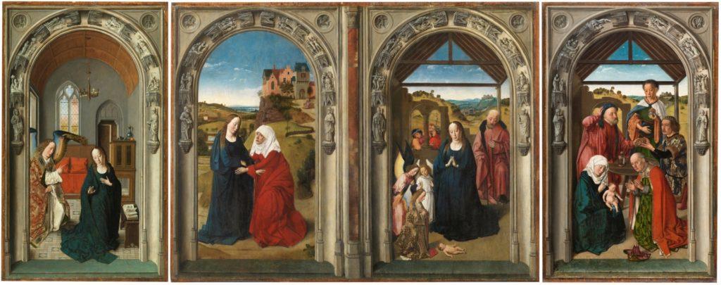 Tríptico de la vida de la Virgen de Dirk Bouts, hacia 1445. Óleo sobre tabla, 81 x 202,6 cm. ©Museo Nacional del Prado