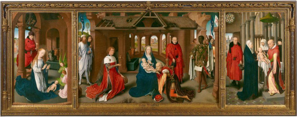 Tríptico de la Adoración de los Magos de Hans Memling, 1470 - 1472. Óleo sobre tabla, 95 x 271 cm. ©Museo Nacional del Prado