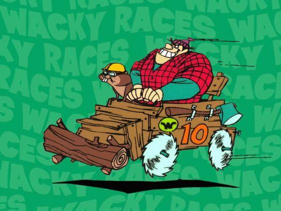 El Troncoswagen que aparecía en la serie Los autos locos de Hanna-Barbera