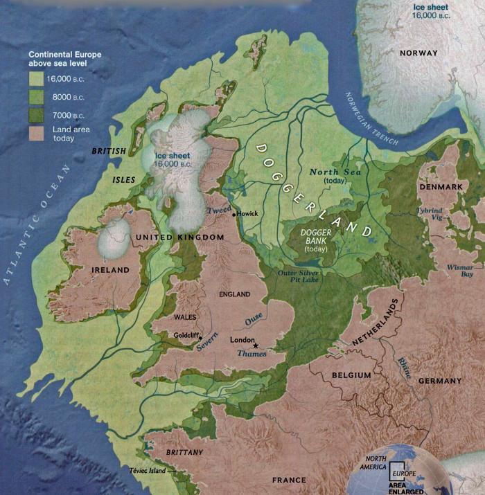 Territorio de Doggerland, según los estudios de la Universidad de Bradford. | Crédito: University of Bradford