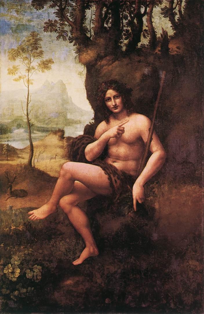 Representación del dios Baco, obra de Leonardo da Vinci custodiada en el Louvre de París.