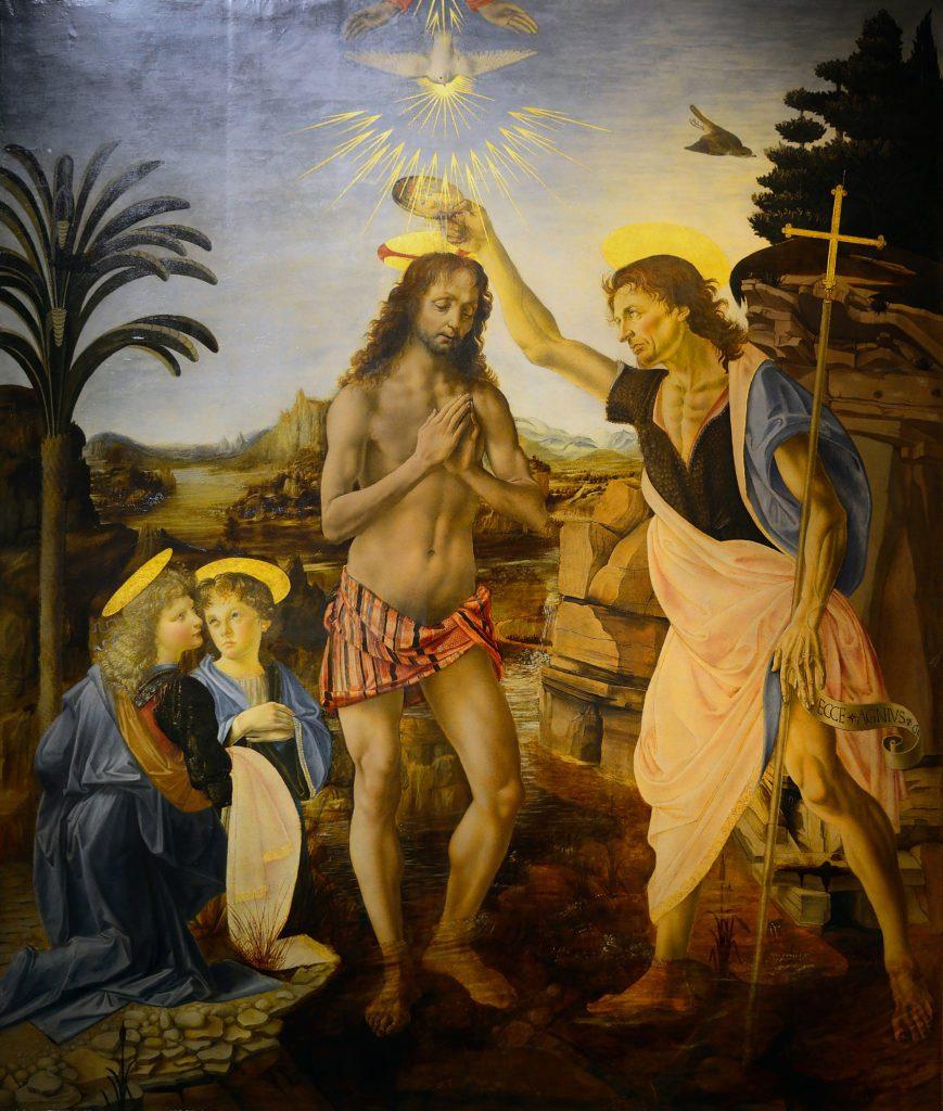 El Bautismo de Cristo, de Leonardo da Vinci, que puede verse en la Galería de los Ufizzi, en Florencia.