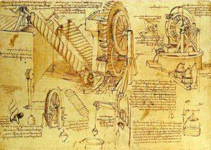Dibujos de Leonardo de un sistema de irrigación basados en el Tornillo de Arquímedes.
