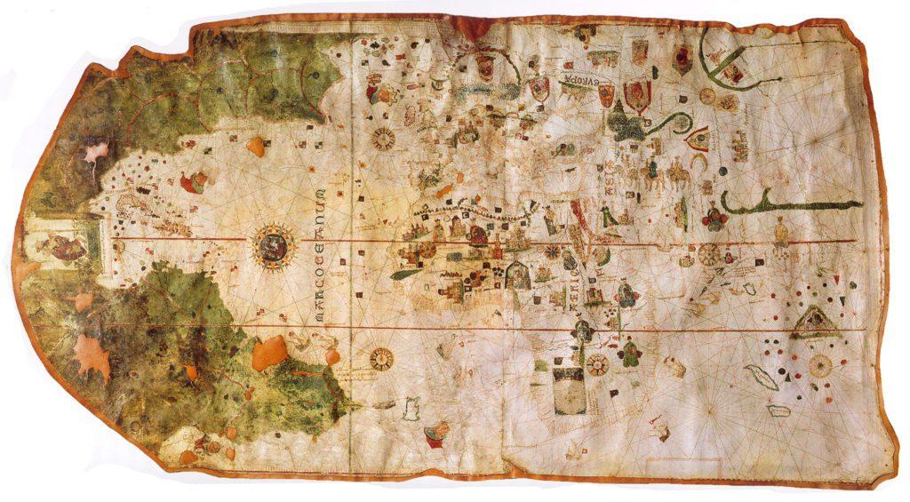 Mapamundi de Juan de la Cosa elaborado en el año 1500. | Crédito: Museo Naval