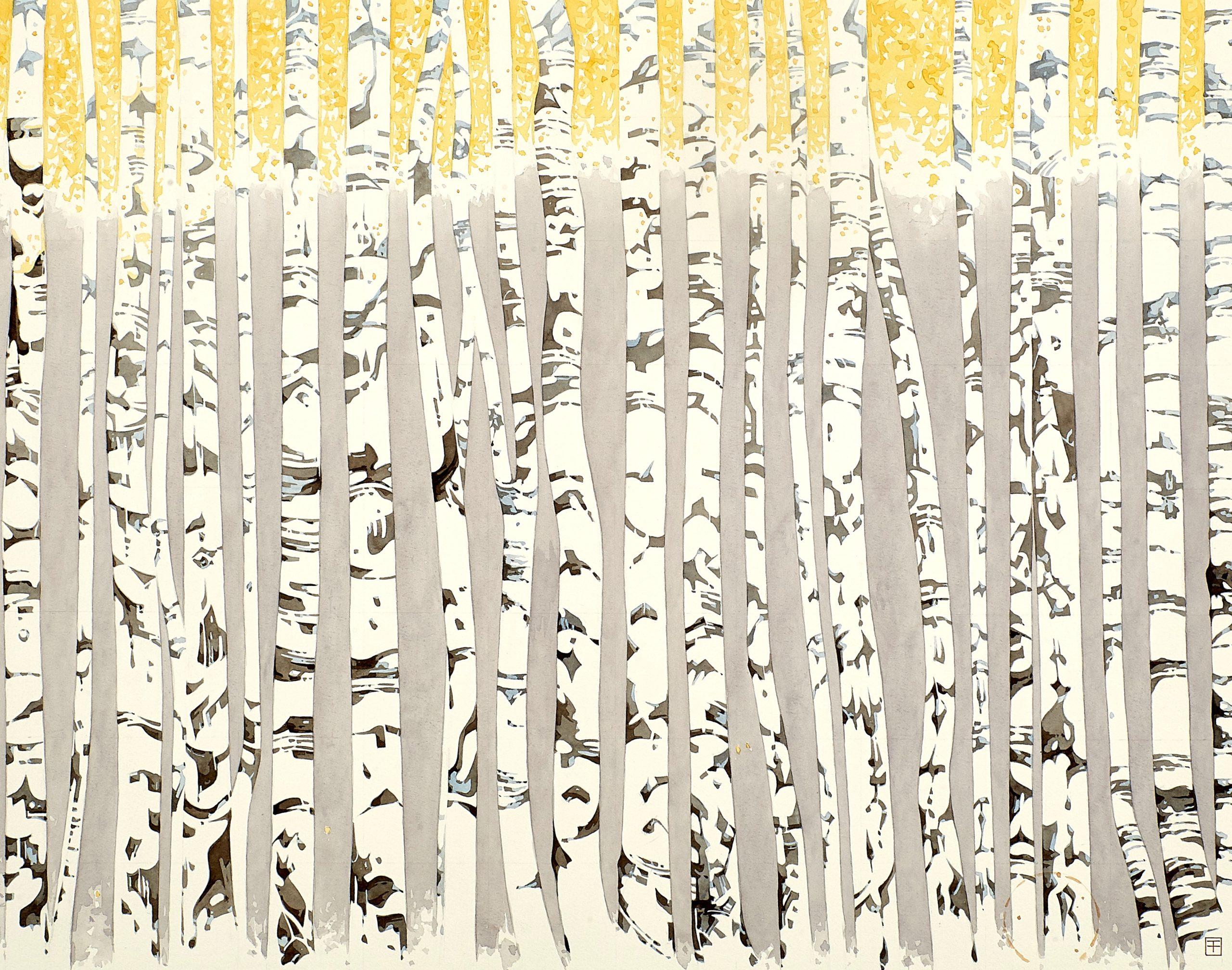 'Árboles para la vida', acuarela alusiva a un bosque de abedules obra del pintor Fernando Fueyo