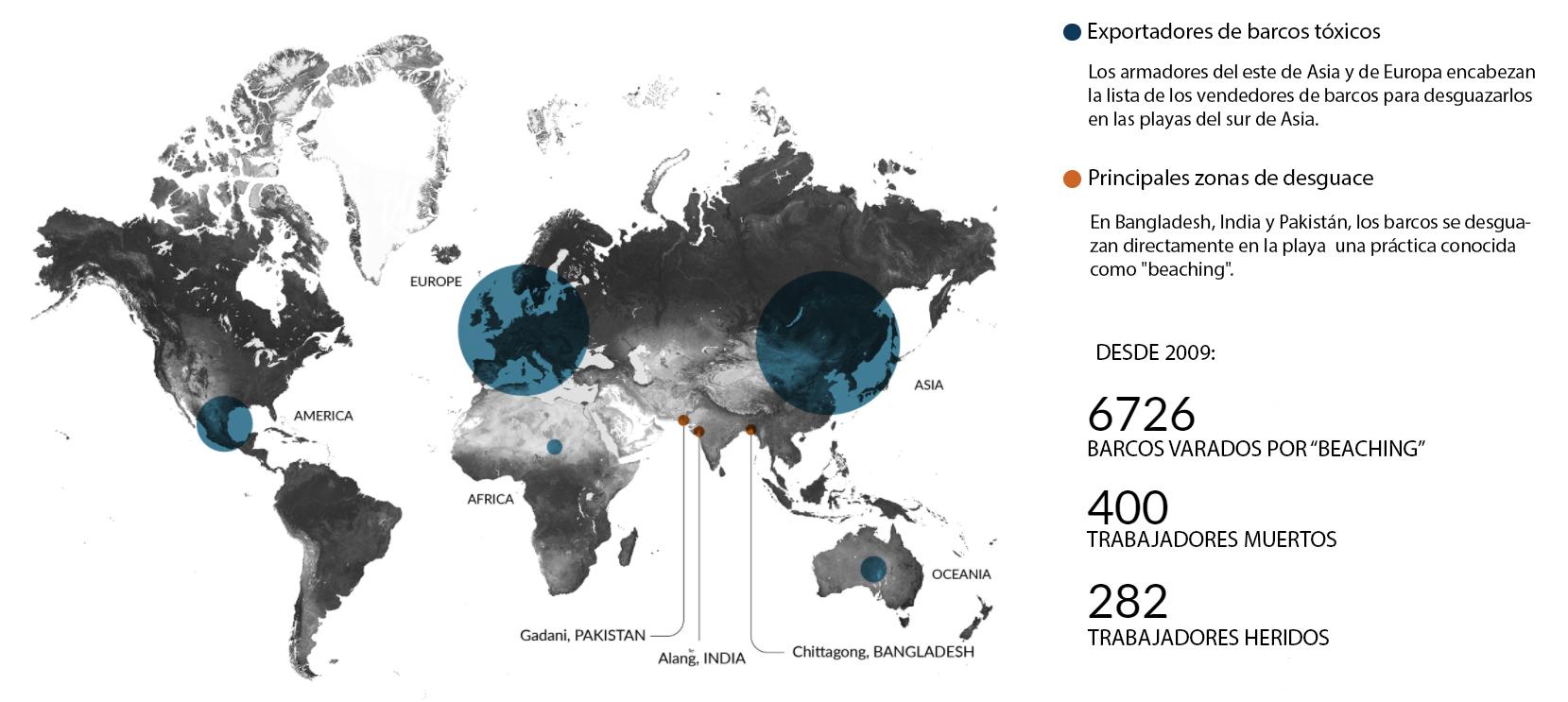 Principales zonas del mundo que desguazan sus barcos en el sur de Asia / Fuente: Shipbreaking platform / Traducido: Jorge Astorquia