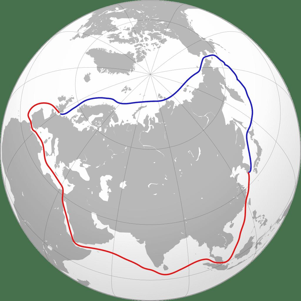 Comparación entre la Ruta del Norte por el Ártico y la ruta habitual por el Canal de Suez. | CRÉDITO: Collin Knopp-Schwyn and Turkish Flame