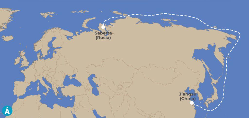 Ruta seguida por el carguero Christophe de Margerie entre el puerto de Sabetta, en Rusia, hasta la ciudad china de Jiangsu, en enero y febrero de 2021.