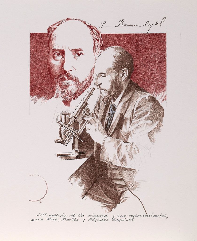 Ilustración alegórica de la obra del nobel Santiago Ramón y Cajal, por Fernando Fueyo. | CRÉDITO: Fernando Fueyo