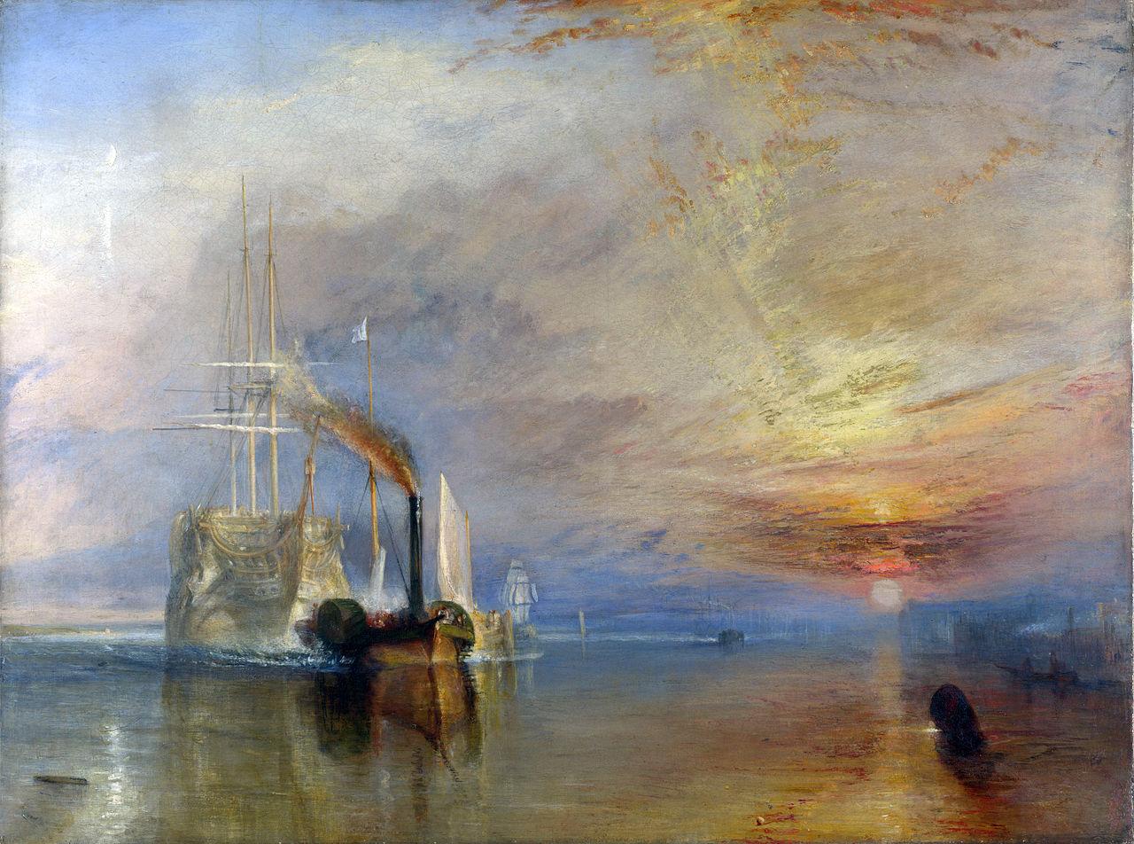 """""""El Temerario"""", remolcado a su último atraque para el desguace, 1839. Óleo sobre lienzo de Turner."""