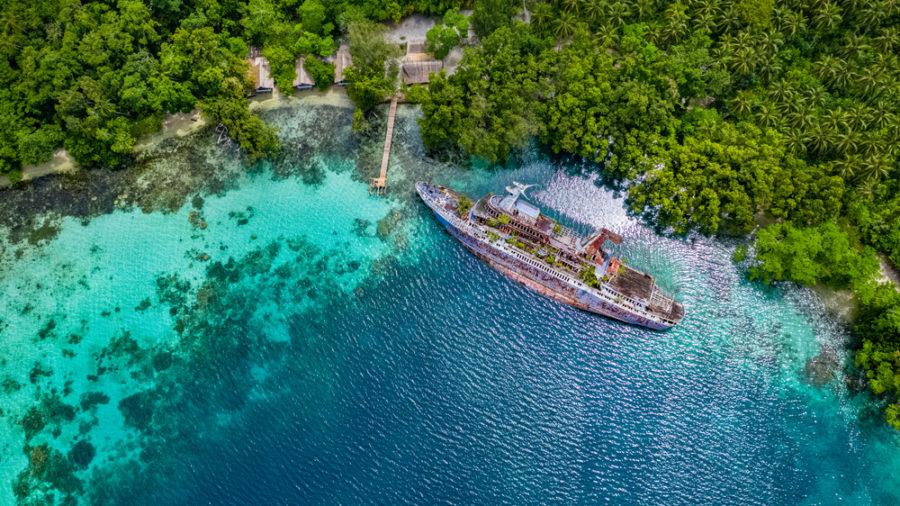Barco hundido en la bahía de Roderick, en las islas Salomón, en una imagen actual FOTO Romaine W