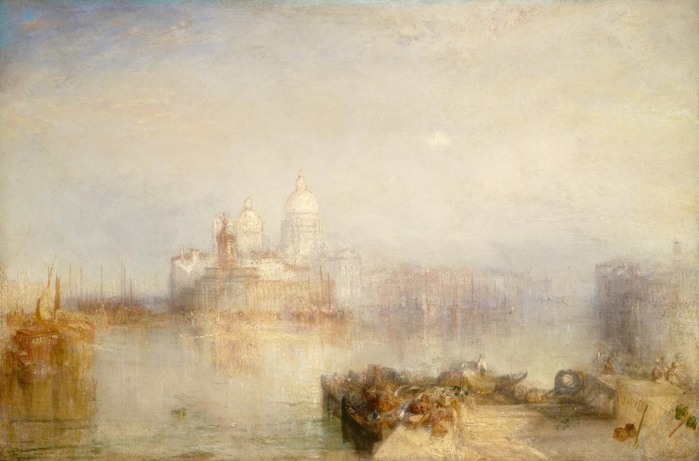 Dogana y Santa Maria della Salute, unas de las diversas estampas de Venecia que Turner pintó hacia 1843.   Everett Collection