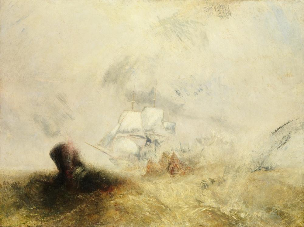 El barco ballenero o Whalers pintado por de Joseph Mallord William Turner hacia 1845.