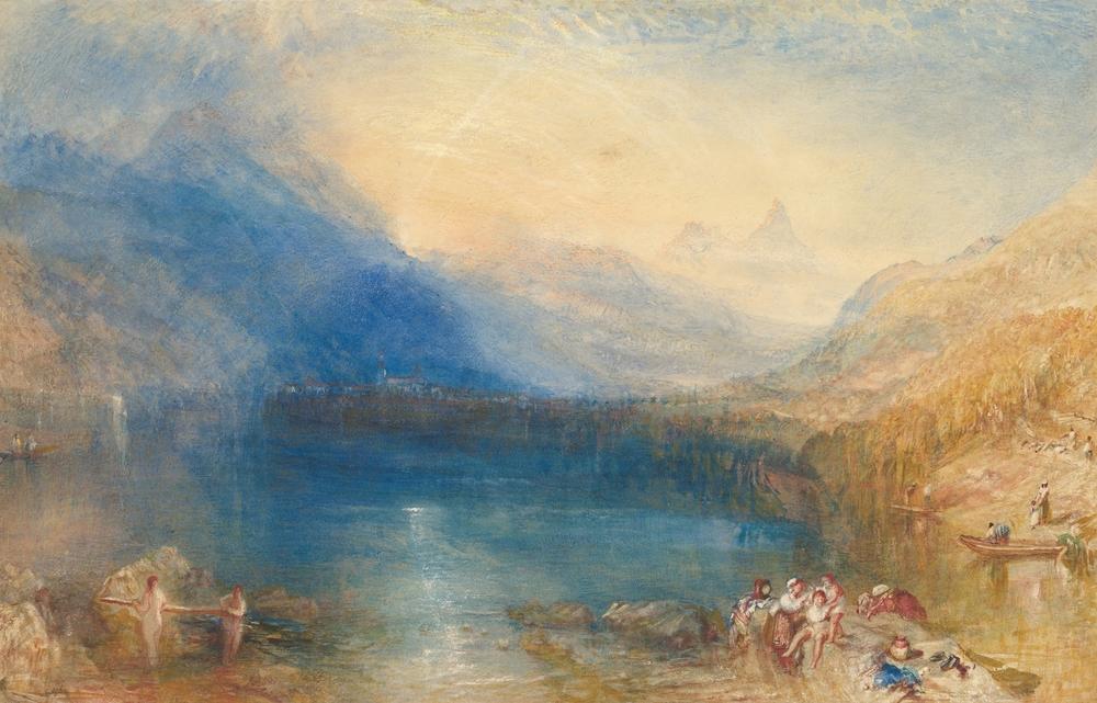 El lago de Zug, pintado por Joseph Mallord William Turner en 1843 en los Alpes suizos.   Everett Collection