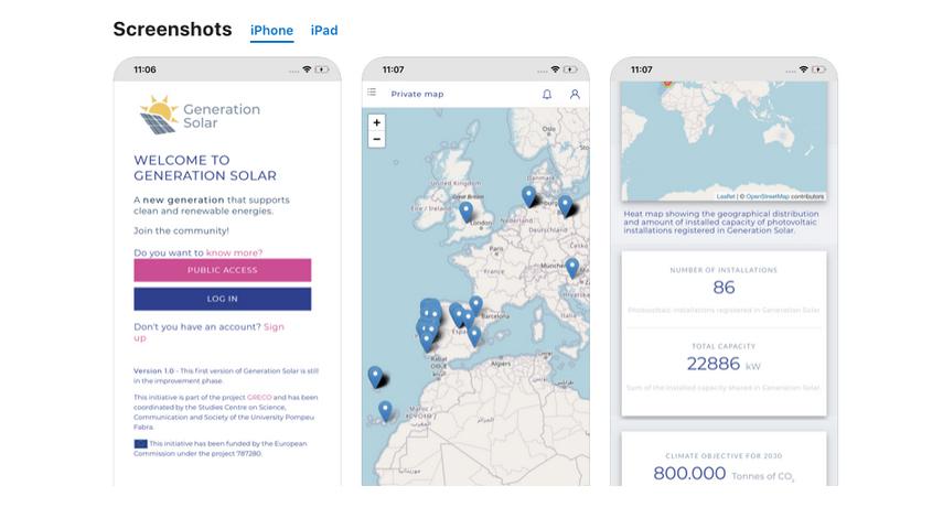Generation Solar es una base de datos de propietarios de instalaciones solares en forma de app