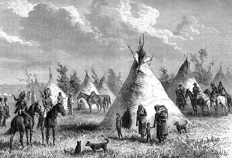 Ilustración de época de un poblado Potawatomi CREDITO EcuRed