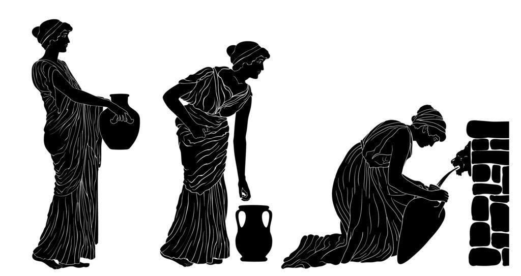 Imagen clásica de una mujer griega recogiendo agua de una fuente foto Mikhail Hoika